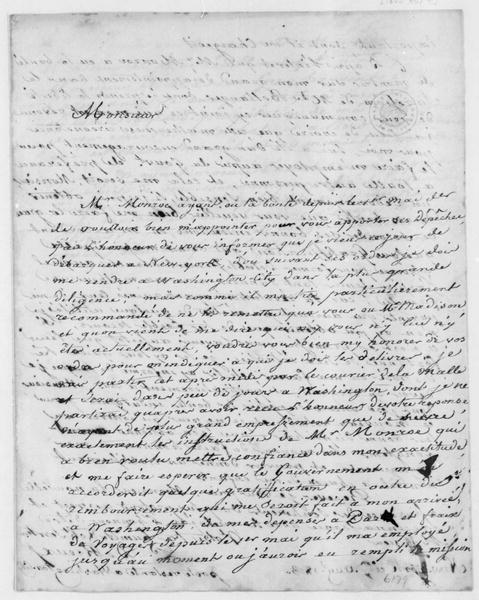 Justin Pierre Plumard de Rieux (Derieux) to Thomas Jefferson, August 9, 1803. In French.