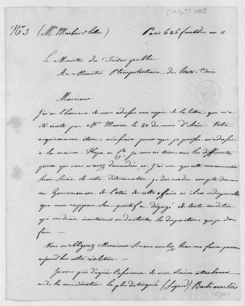 Francois Barbe-Marbois to Robert R. Livingston, September 13, 1803. In French with copy.
