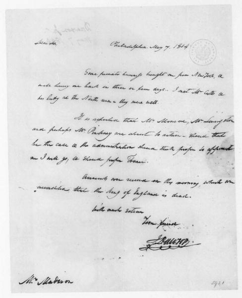 John Dawson to James Madison, May 7, 1804.