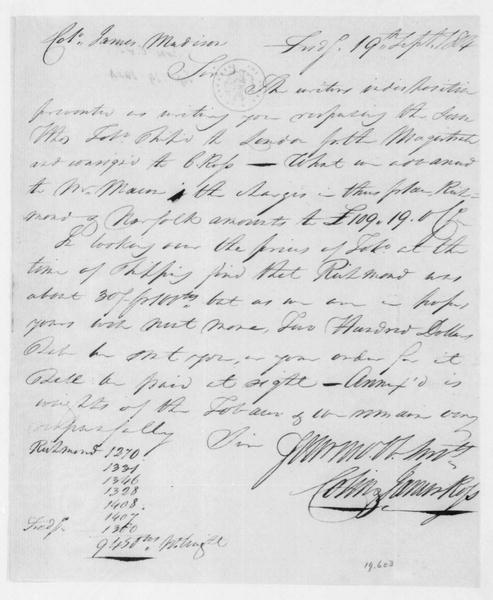 Colin and James Ross to James Madison, September 19, 1804.