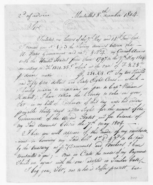 Stephen Cathalan to James Madison, December 8, 1804. Three SD-One with Copy.