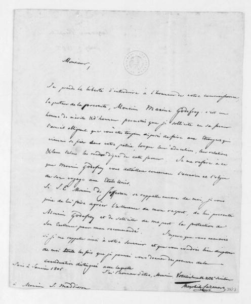 Theophile Cazenove to James Madison, January 2, 1805. In French.