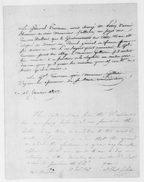 General Turreau to Albert Gallatin, January 16, 1807. In French.