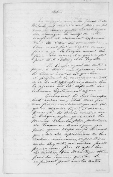 Gerard to Wester Land, May 8, 1807. Note in French, Claim.