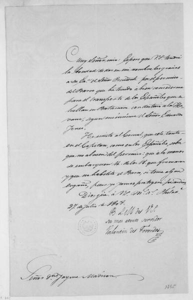 Valentin de Foronda to James Madison, July 27, 1808. In Spanish.