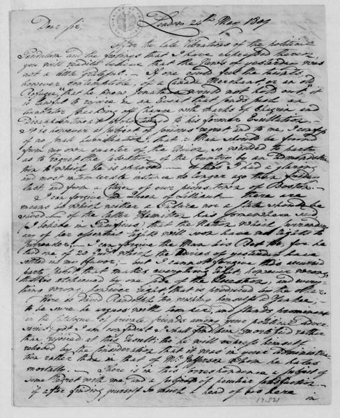 George Joy to James Madison, May 24, 1809. With Copy.