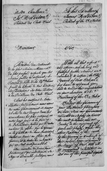 James Mather - New Orleans City Council to James Madison, June 10, 1809. Address to the New Orleans City Council in French and English.
