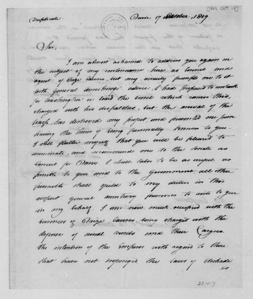 David Bailie Warden to James Madison, October 18, 1809. With Copy & Note.
