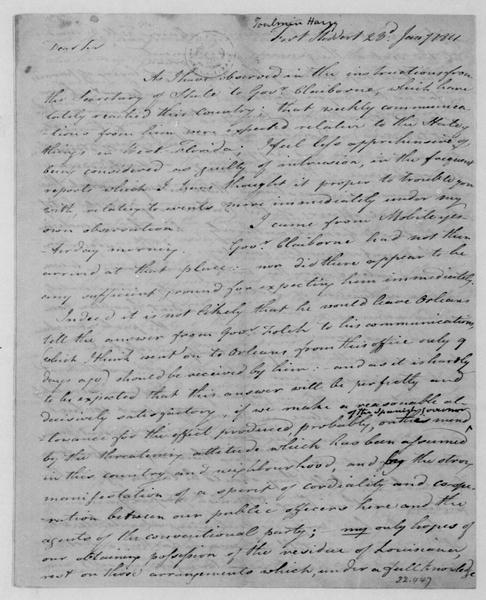 Harry Toulmin to James Madison, January 23, 1811.