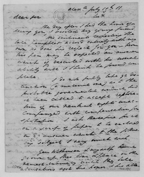 Henry Lee to James Madison, July 19, 1811.