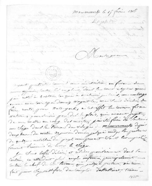Chevalier de Dagepan to James Madison, February 19, 1816. In French.