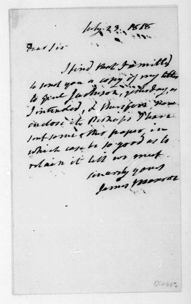 James Monroe to James Madison, July 23, 1818.