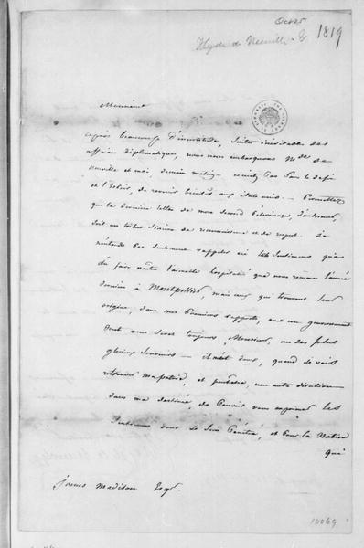 Hyde de Neuville to James Madison, October 25, 1819. In French.