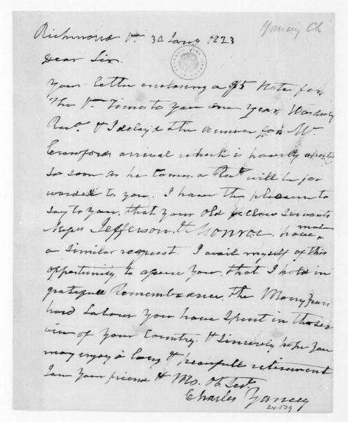 Charles Yancey to James Madison, January 30, 1823.