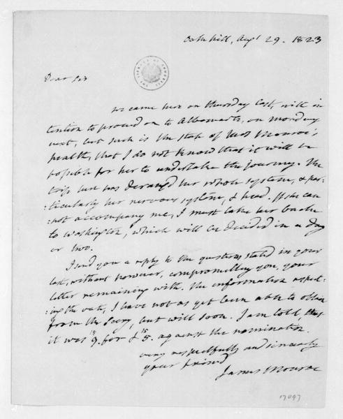James Monroe to James Madison, August 29, 1823.