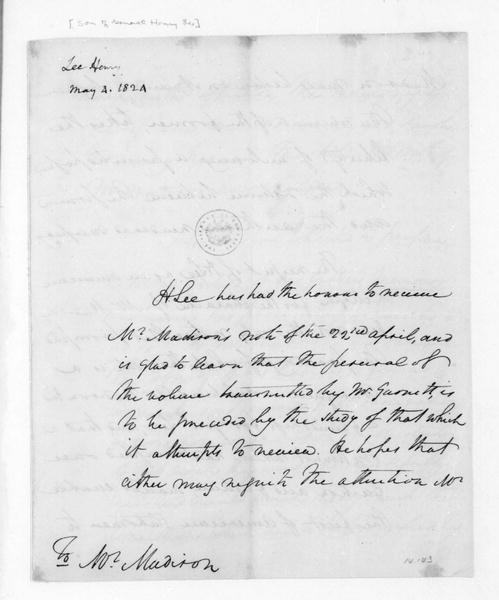Henry Lee to James Madison, May 4, 1824.