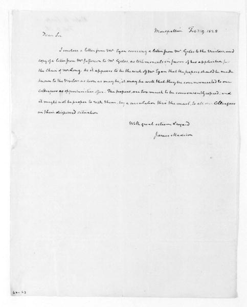 James Madison to John H. Cocke, February 9, 1828. With Copy.