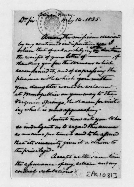 James Madison to Henry Colman, May 14, 1835.
