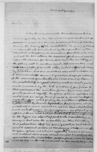 James Monroe to James Madison, October 29, 1795. Partly in Cipher.