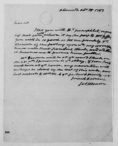 James Monroe to James Madison, October 15, 1797.