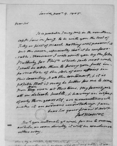 James Monroe to James Madison, November 9, 1805.