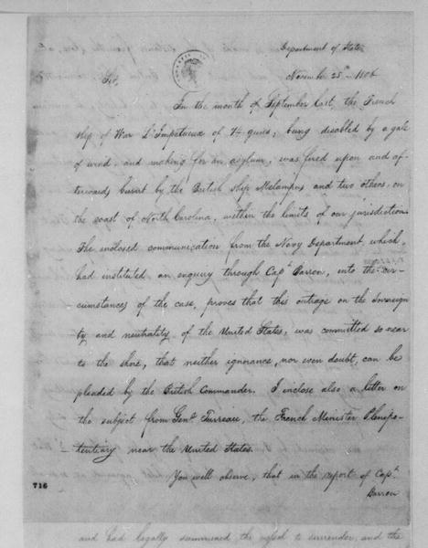 James Madison to James Monroe, November 25, 1806.