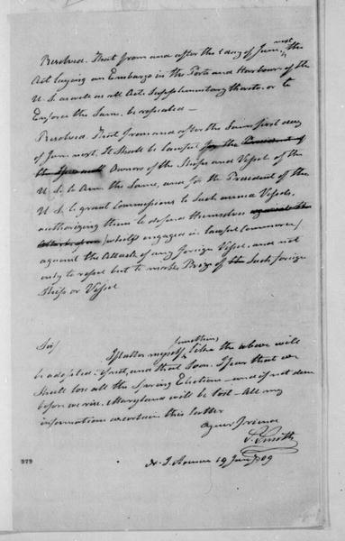 Samuel Smith to James Madison, January 19, 1809. With Resolution.