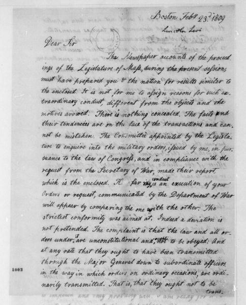 Levi Lincoln to James Madison, February 23, 1809.