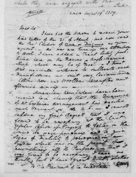 William Pinkney to James Madison, August 19, 1809.
