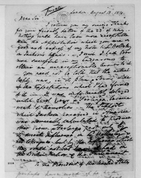 William Pinkney to James Madison, August 13, 1810.