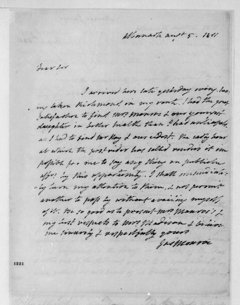 James Monroe to James Madison, August 5, 1811.