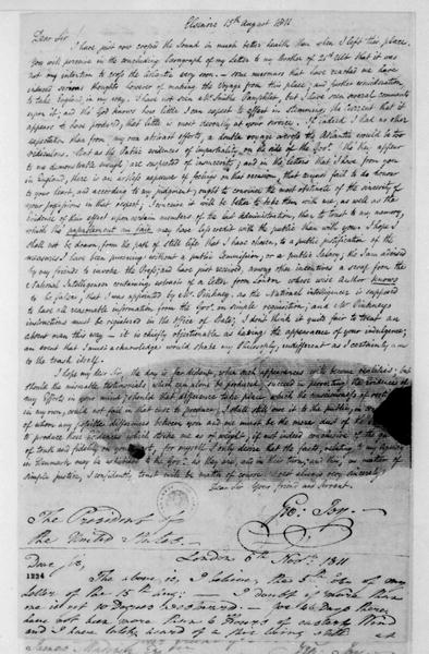George Joy to James Madison, November 6, 1811. Copy of letter dated Aug. 15, 1811, includes note dated Nov. 6, 1811.
