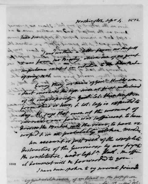 James Monroe to James Madison, September 4, 1812.