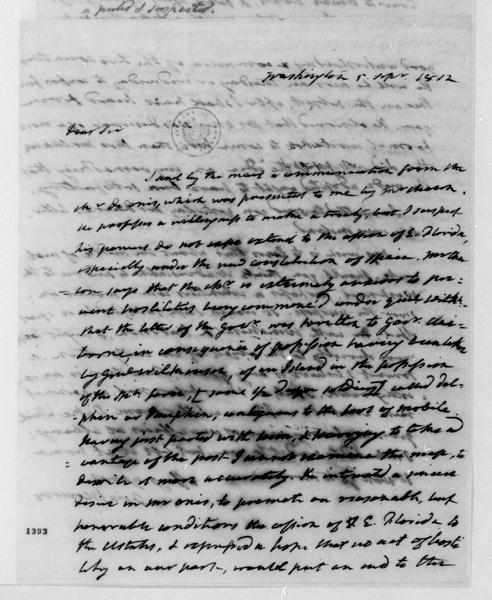 James Monroe to James Madison, September 5, 1812.