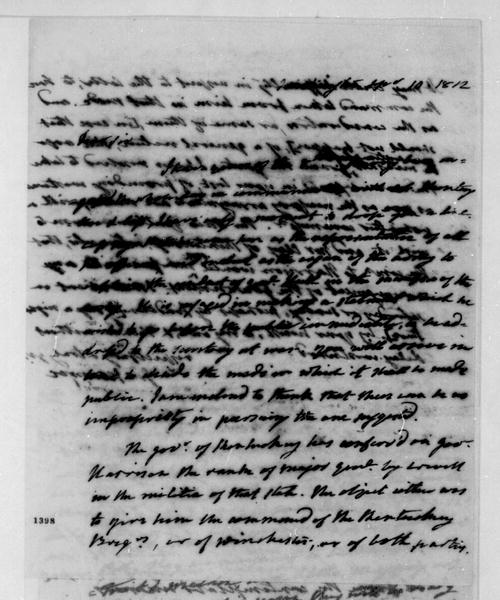 James Monroe to James Madison, September 10, 1812.