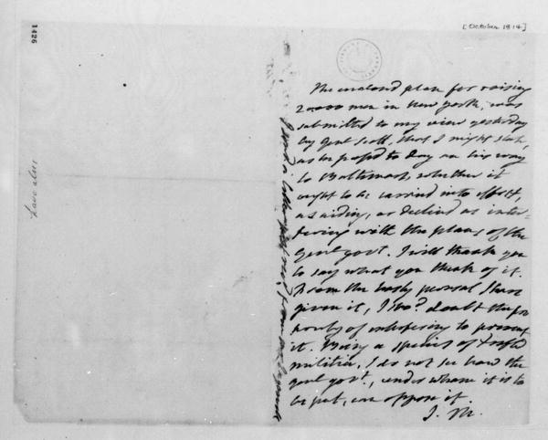 James Monroe to James Madison, October, 1814.