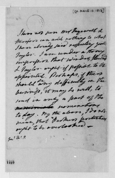 James Monroe to James Madison, March 13, 1813.