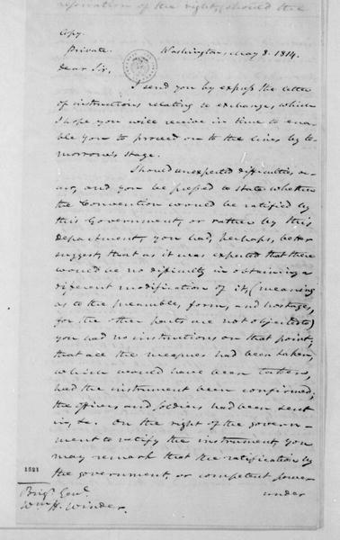 James Monroe to William H. Winder, May 8, 1814.