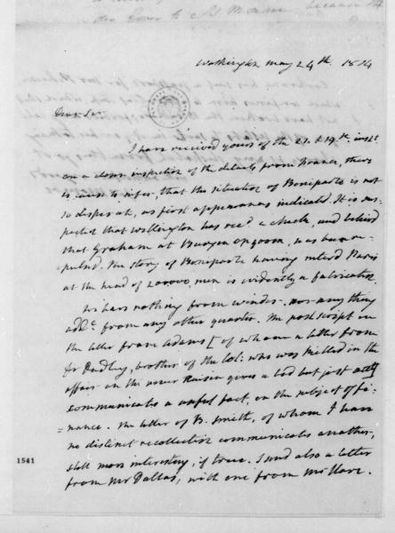 James Monroe to James Madison, May 24, 1814.