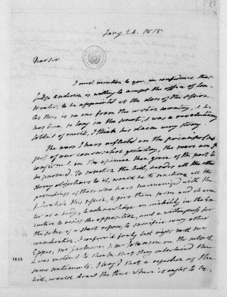James Monroe to James Madison, January 26, 1815.