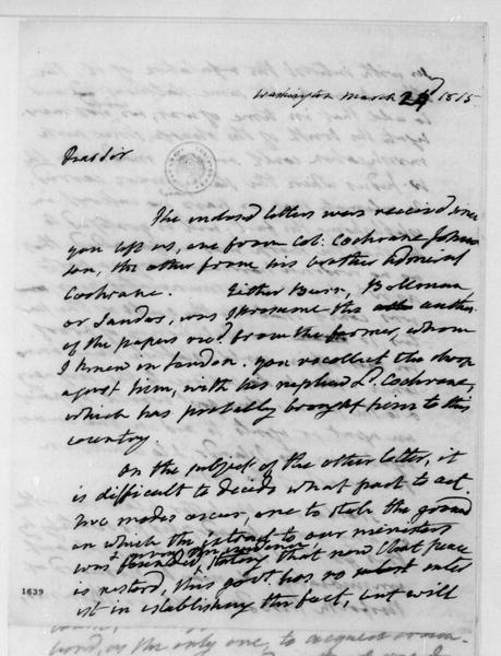 James Monroe to James Madison, March 24, 1815.