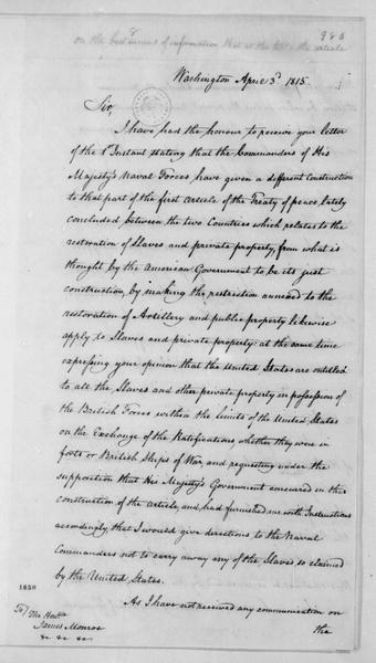 Anthony S. Baker to James Monroe, April 3, 1815.