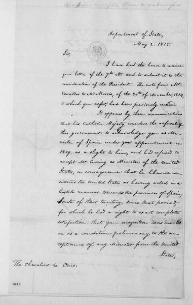 James Monroe to Chevalier de Onis, May 2, 1815.