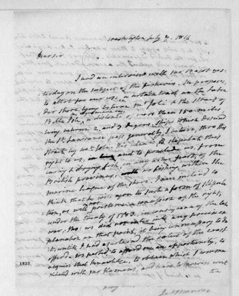 James Monroe to James Madison, July 7, 1816.