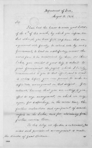 James Monroe to Charles Bagot, August 12, 1816.