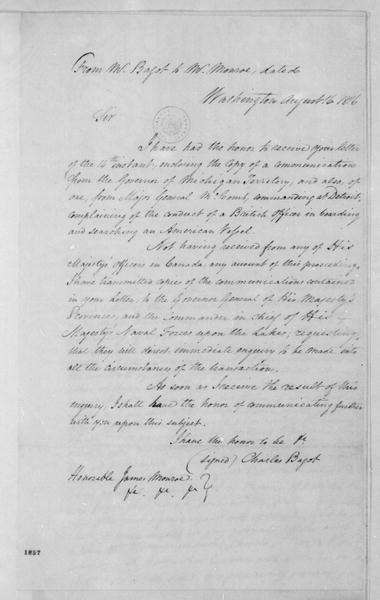 Charles Bagot to James Monroe, August 16, 1816.