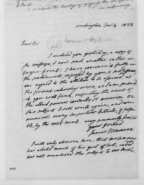 James Monroe to James Madison, December 4, 1823.