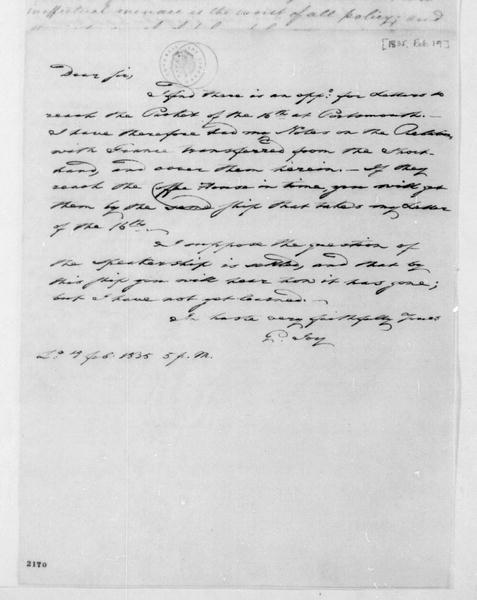 George Joy to James Madison, February 19, 1835. With Notes.