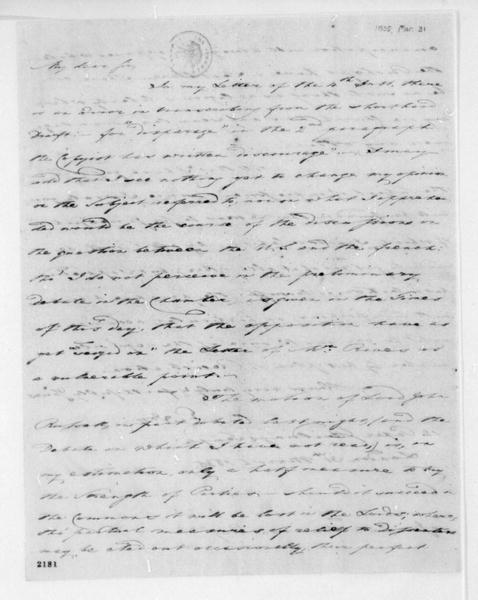 George Joy to James Madison, March 31, 1835. Includes notes on impressment of seaman.