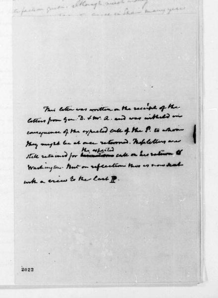James Madison. Note - Correspondence Received.